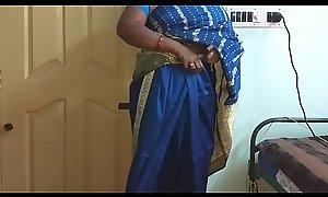 des indian horny big Chief tamil telugu kannada malayalam hindi become man vanitha wearing blue affect unduly saree  showing big jugs together with shaved pussy shake fixed jugs shake nip rubbing pussy masturbation