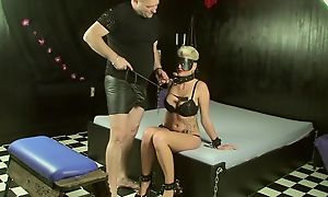 Short-haired slave with big juggs makes her master expropriate