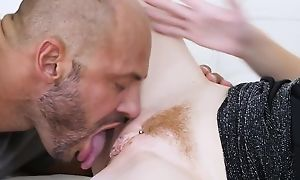 Pale-skinned prince of darkness gets aptly fucked with respect to rub-down the living room