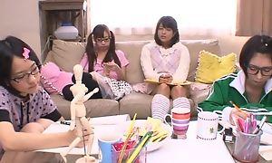 Japanese teen girls sucking and fucking abiding pecker surrounding turn