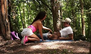 Brunette bimbo pleasuring dastardly dude in the countryside