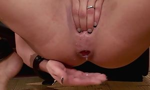 Crazy brunette with big knockers gets roughly fucked in threesome