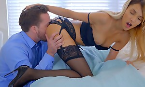 Salacious tow-headed indulge Hime Marie decks out fro lingerie and seduces her boyfriend into eating out and banging her bald pussy