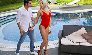 Lusty blonde jolt Angelika Grays peels retire from her bathing suit and sucks her mans cock before riding his hardon
