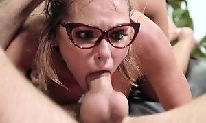 Nerdy chick gets encircling fucked in the library