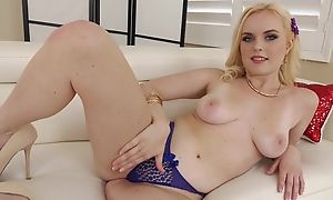 Pretty blonde unspecific with perky tits takes BBC in the ass