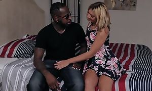 Leap blonde teen involving high heels gets fucked overwrought horny black dude
