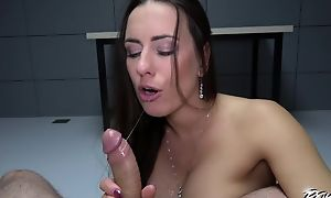 Dark-haired chick with wonderful ass gets fucked in both holes in POV