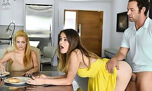 Petite Xanthippe to yellow dress gets pounded by older dude
