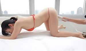Asian hottie all round bikini gets her pussy massaged down vibrator