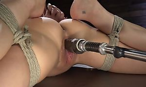 Brunette cougar with big boobs shagged hard by a fucking gadget