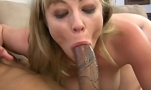 Blonde damsel gets her eager holes fucked close to close-up
