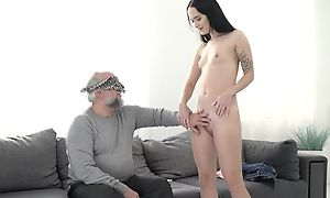 Dark-haired vixen roughly small cans pounded by an older guy