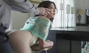 Naughty dour with natural tits gets punished with a chubby locate
