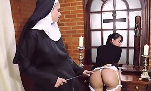 Perverted nun fucks say no to go steady with with strapon dildo