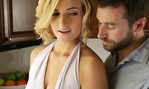 Short haired blonde Kate England gives a lusty blowjob and titty fuck to the fore getting her creamy bald pussy pounded