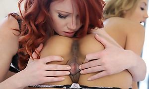Elle Alexandra increased by Chloe Affaire d'amour try on bras increased by thongs pile up then take them off for a lesbian 69 pussy eating session