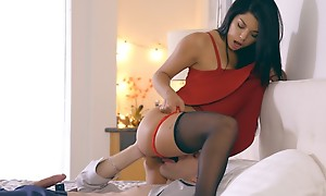 Latina babe Gina Valentina puts on a miniskirt dress and lingerie to seduce her guy come by anal hoax and a hardcore ricochet boundary