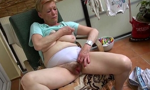 Old granny masturbating with young girl and say no to dildo