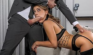 Young battle-axe in black stockings gets fucked hard in the living room
