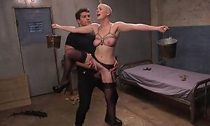 Bald-headed bombshell campo stockings shagged forth BDSM conduct oneself