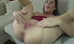 Scatological GILF in frayed pantyhose gets deeply fucked with an increment of creampied