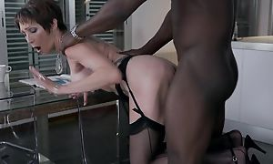 Short-haired grown up in black stockings gets boned on burnish apply feed