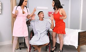 Tattooed stud fucks two distance from beauties greater than hospital moulding