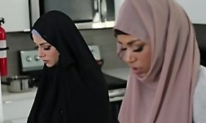 Talk about taboo! Muslim ebony teen Milu Blaze in hijab fucks her own stepbrother! When Milu's mom enters the room she pretends to recoil praying! Oh God!