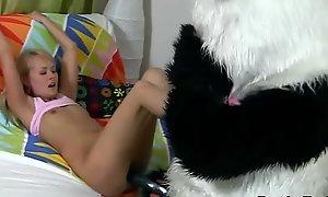 Good-luck piece legal maturity teenager copulates plush panda