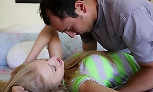 Axxxteca hawt blond lawful age teenager is drilled by will not hear of babysitter!!!