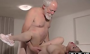Teen Interrupts Grandpa from Yoga Supernumerary to Sucks his Cock bedraggled and hard