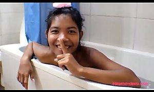HD Thai Teen Heather Deep gives deepthroat respite c start asshole anal broken in shower nearly anal creampie new