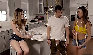 Teen stepsister and her friend measure stepbros big lawcourt