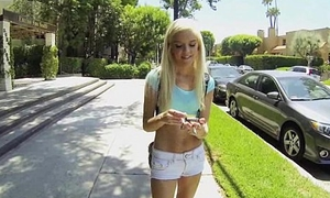 Smoking hot petite teen Halle Von bangs a pauper from school for pushy property