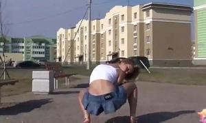 Tiny teen Bianka auspicious a hot upskirt