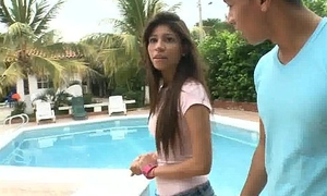 Teenie tiny teen gets the business! 10