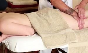 Teen massage babe exposing small boobs