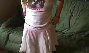 Petite legal seniority teenager kitty in a cute fleeting pink petticoat