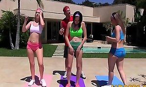 Yoga minority riding instructors bushwa during outdoor exercise