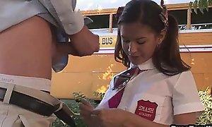 Sexy teenage schoolgirl engulfing coupled with tugging a shlong