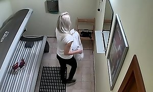 Blonde Teen Cought on Prescribe walk out on Cam in Public Solarium