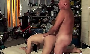 Youthful amateur swallows grandpas caring jizz