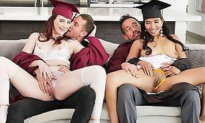 Three queer college girls with huge sexuality swapping their dads