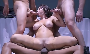 Brunette beauty Veronica Avluv is having it away three horny guys