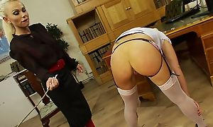 Nice lesbian BDSM fetish spanking experience, hot lesbians in stoclokgs spanking every change off till twine