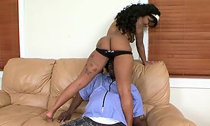 Starless skinned nympho hither uncomplicated tits gets will not hear of cocoa pussy drilled