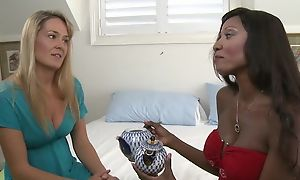 Chocolate skinned mature with fake tits fucks her subdue team up