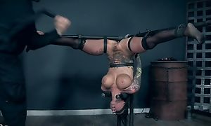 Inked strumpet with performance tits pleasuring her master in BDSM action