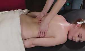 Cute redhead girl gets seduced and fucked by will not hear of kinky masseuse